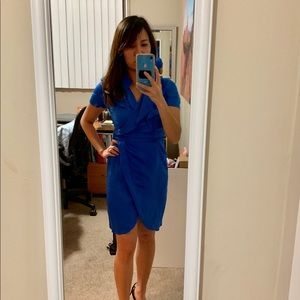 BR royal blue faux wrap dress